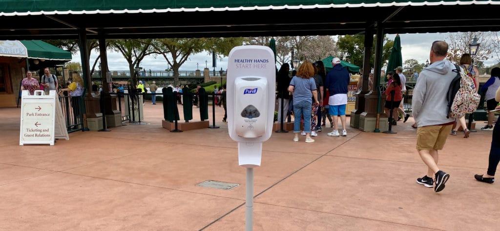 Hand Sanitizer Station in Epcot for Disney World Coronavirus Outbreak
