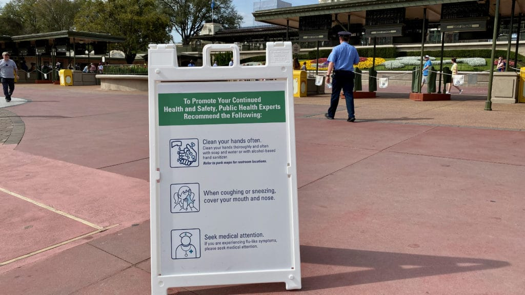 Hygiene signage during COVID-19 at Disney World
