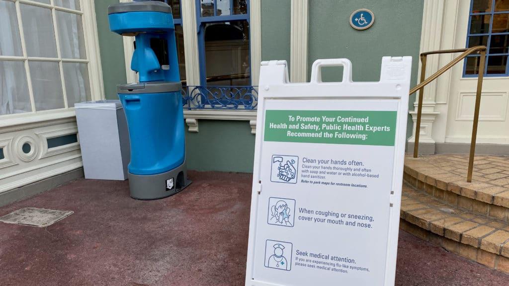 Hand wash station during Disney World Coronavirus outbreak
