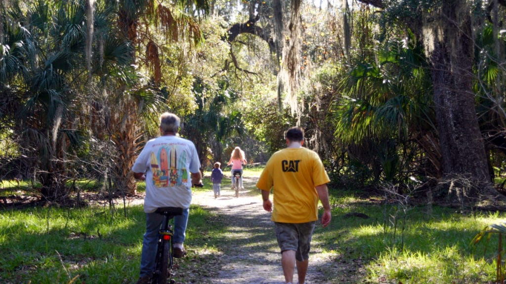 People walking trails in Lake Kissimmee Florida State Parks