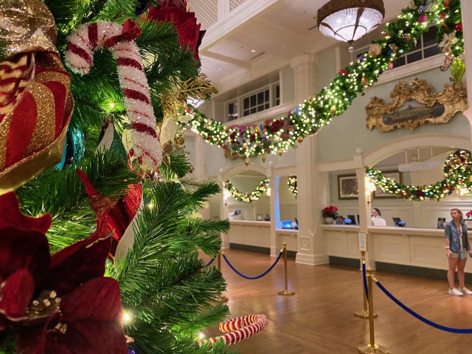 Disney's Boardwalk Resort with Christmas Tree and Christmas Decoration