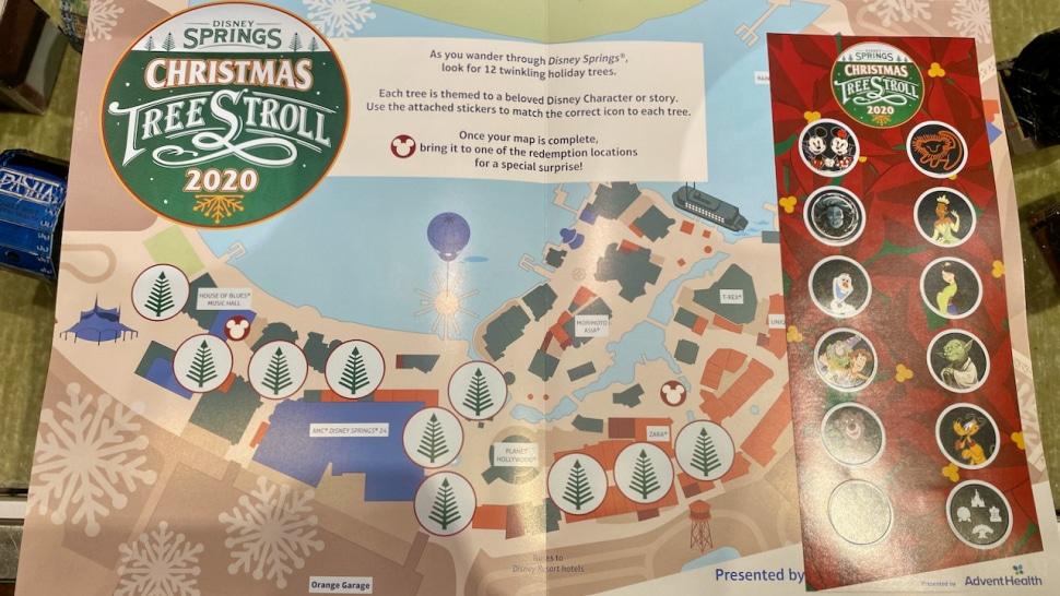 Disney Springs Christmas Tree Stroll Map for 2020