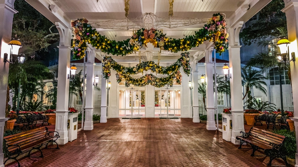 Entrance to Disney's Grand Floridian with Christmas Decorations in 2019