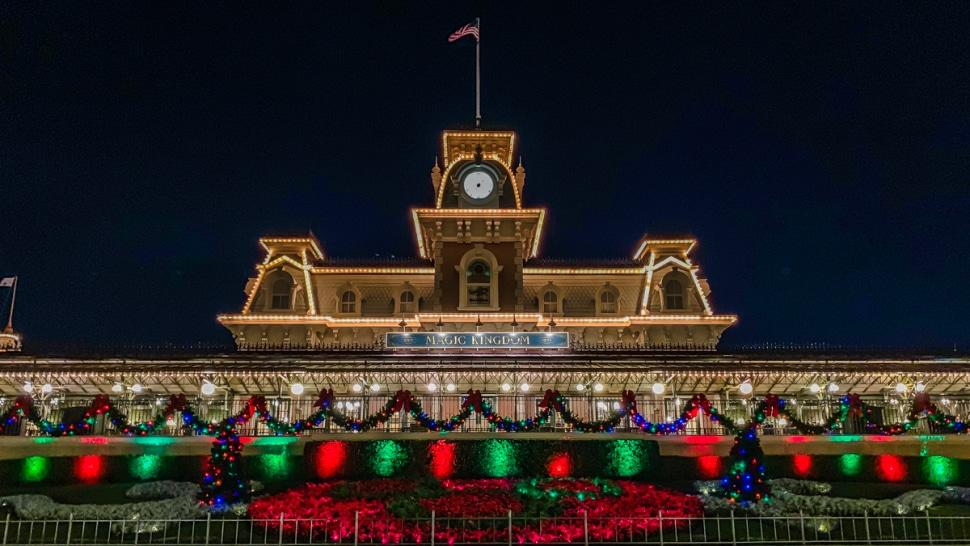 Magic Kingdom Train Station Christmas Decorations at Disney World