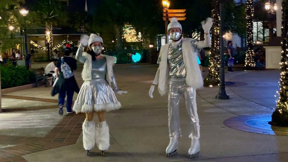 Disney Springs Ice Skaters Waving Hello