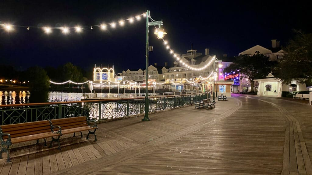 Disney World's Boardwalk at night all lit up and empty.
