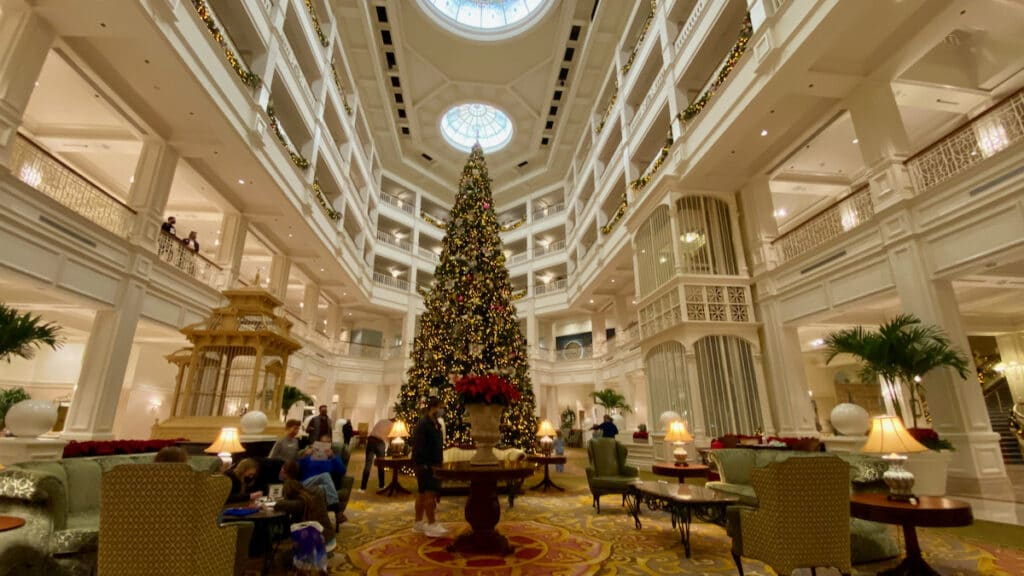Disney's Grand Floridian Lobby Christmas Tree Display and decorations